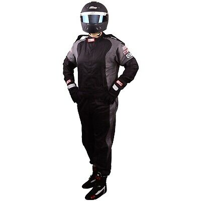 Scca Fire Suit 1 Piece Elite Sfi 3-2A/1 Black / Gray 2X Rjs Racing Xxl