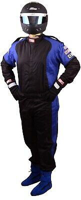 Scca Fire Suit 1 Piece Elite Sfi 3-2A/1 Blue / Black 4X Rjs Racing Xxxxl