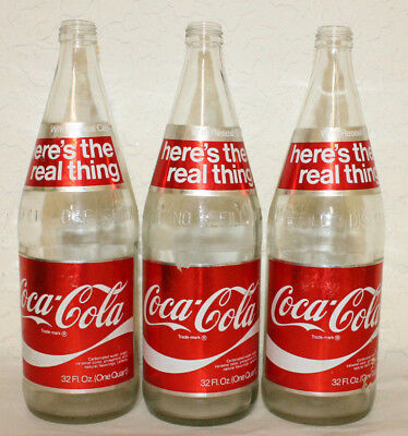 Lot of 3 VINTAGE HERE'S THE REAL THING FOIL LABEL COCA COLA BOTTLE 32 OZ