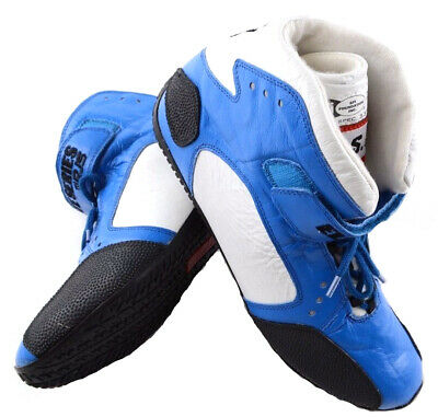 Rjs Racing Sfi 3.3/5 Elite Driving Shoes Leather Mid Top Blue Mens 12 Womens 14
