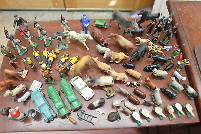 (75)+ Lot Of Vintage Christmas Train Garden Figures Lead, Plastic, Etc.