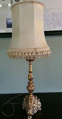 "Large Vintage Victorian Ornate Bronze Cast Iron Table Lamp with Silk Shade 38""T"
