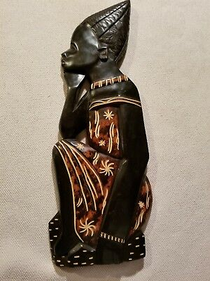 """Tall Hand Carved/painted African Lady Wall Plaque- 19.5"""" Long"""