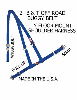 "Rjs Racing 2""buggy Off Road Seat Belt 3 Point B&t Y Harness Blue Snap 4000603"