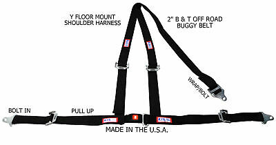 "Rjs Racing 2"" Buggy Off Road Seat Belt 3 Point B&t Y Harness Black 50521 4000501"