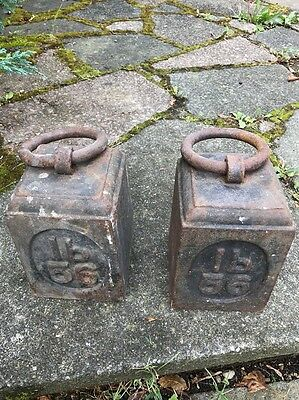 Heavy Large Vintage Reclaimed Old Cast Iron Ring Top 56lb Weights X2