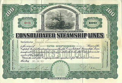 Consolidated Steamship Lines Stock Certificate 1907, 100 Shares