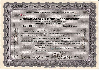 1921 MAINE United States Ship Corp Temporary Stock Certificate