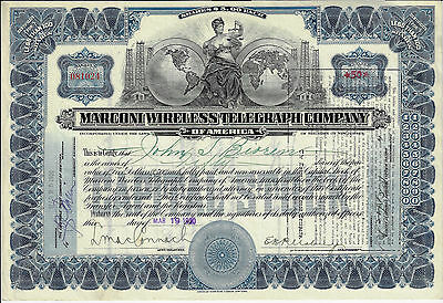 NEW JERSEY 1920 Marconi Wireless Telegraph Company of America Stock Certificate