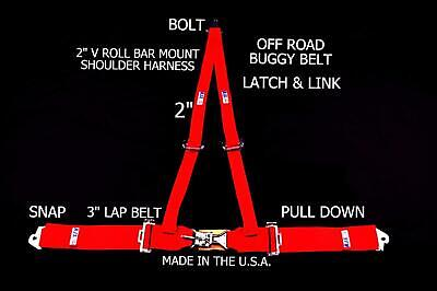 Rjs Racing 3 Pt Latch & Link V Roll Bar Mount Harness Buggy Belt Red 50540-1-4