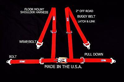 "Rjs Racing 2"" 4 Pt Latch & Link Floor Mount Harness Buggy Belt Red 50531-15-4"