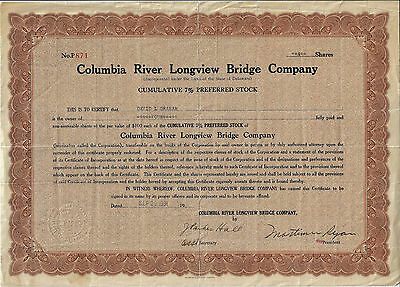 OREGON WASHINGTON 1931 Columbia River Longview Bridge Co Stock Certificate