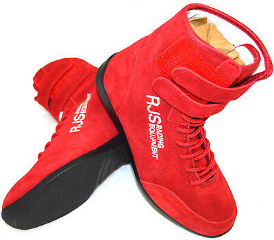 Rjs Racing Sfi 3.3/5 Racing Shoes Solid Red High Top Size 6 Shoes Kart Imsa Scca