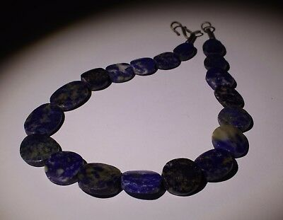 Large Ancient Carved Lapis Bead Necklace - No Reserve 001
