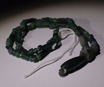 Ancient Roman Green Glass Bead Necklace - Circa 2Nd Century Ad - No Reserve! 016