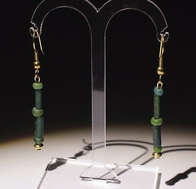 Ancient Roman Green Glass & Gold Bead Earrings - Circa 2Nd Ad - No Reserve 01