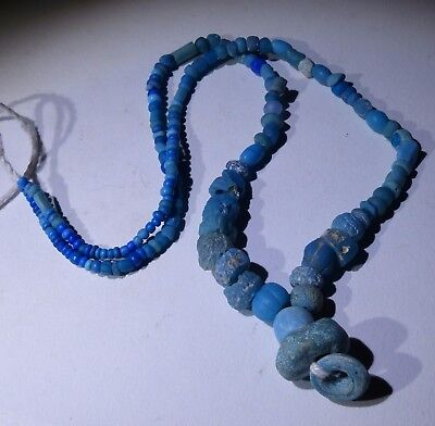 Ancient Roman Blue Glass Bead Necklace - Circa 2Nd Century Ad - No Reserve! 011
