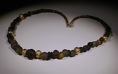 Ancient Roman Glass And Post Medieval Gold Bead Necklace - No Reserve!!