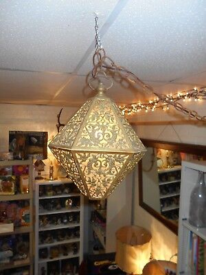 Vintage Mid Century Hanging Brass Globe Swag Lamp Light Hollywood Regency Paper