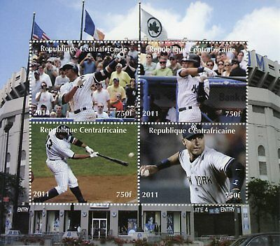 Central African Republic 2011 CTO Baseball 4v M/S Flags Sports Stamps