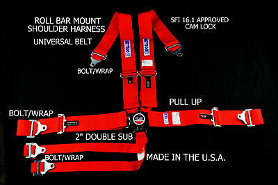 Rjs Racing Sfi 16.1 6 Pt Cam Lock Roll Bar Harness Double Sub Belt Red 1060404