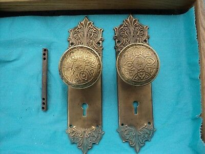 Antique Victorian Door Knobs and Plates Brass door plates Brassed knobs