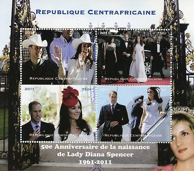 Central African Rep 2011 CTO Princess Diana Prince William Kate 4v M/S Stamps