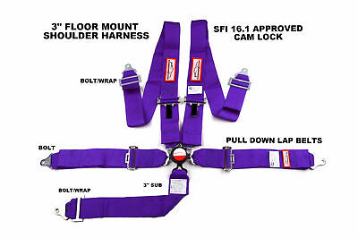 "Sfi 16.1 Racing Harness 5 Point Floor Mount 3"" Cam Lock Seat Belt Purple"