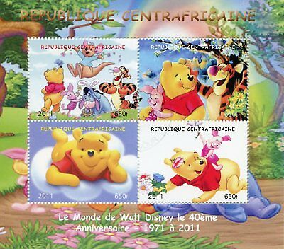 Central African Rep 2011 CTO Walt Disney Winnie the Pooh Bear 4v M/S Stamps