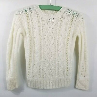 Gap Girls Cream Off White Cable Knit Sweater Small 6 7 SOFT Pullover Crew Neck
