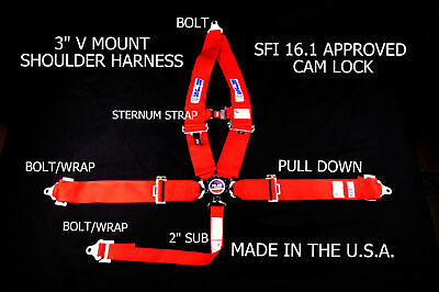 Rjs Sfi 16.1 5 Point Cam Lock V Roll Bar Mount Sternum Strap Belt Red 1036804