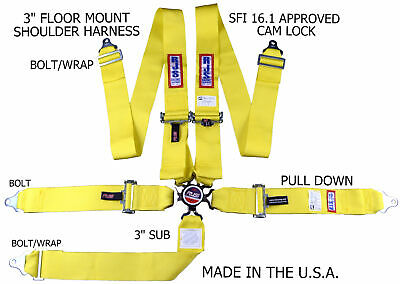 Rjs Racing Sfi 16.1 Cam Lock 5 Pt Seat Belt Harness Floor Mount Yellow 1034906