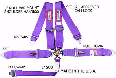 Rjs Racing Sfi 16.1 Cam Lock 5 Point Roll Bar Mount Harness Purple 1031708