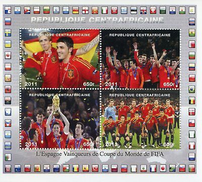 Central African Rep 2011 CTO Spain World Cup Football 2010 4v M/S Soccer Stamps