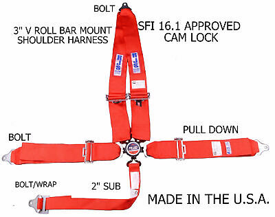 Rjs Sfi 16.1 Cam Lock 5 Point Racing Harness Belt V Roll Bar Bolt In Red 1029304