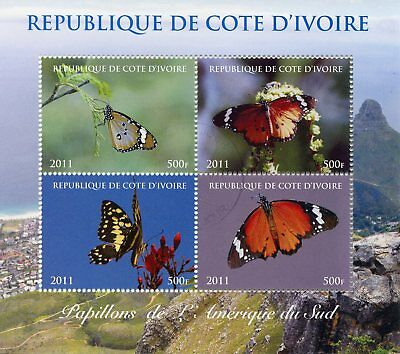 Ivory Coast 2011 CTO Butterflies of South America 4v M/S Butterfly Stamps