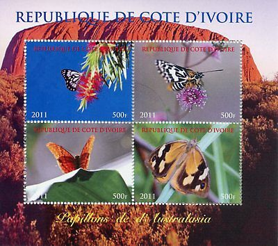 Ivory Coast 2011 CTO Butterflies of Australasia 4v MS Papillons Butterfly Stamps