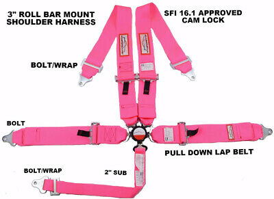 "Sfi 16.1 Racing Harness 5 Point Roll Bar Mount 3""cam Lock Hot Pink Quick Release"