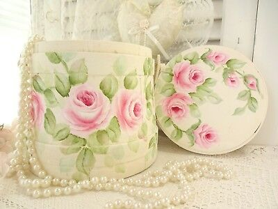 LOVELY ROSES! WOOD LID BASKET PAIL chic daSommers hp hand painted shabby vintage