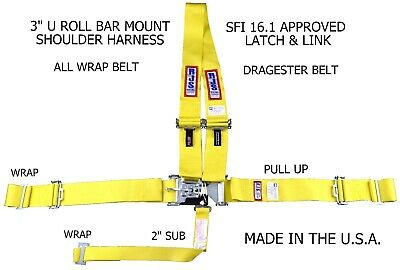 Rjs Sfi 16.1 Latch & Link Dragster Harness Belt All Wrap Pull Up Yellow 1154406