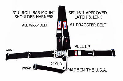 Rjs Sfi 16.1 Latch & Link #1 Dragster Harness Belt All Wrap Pull Up Blk 1154401