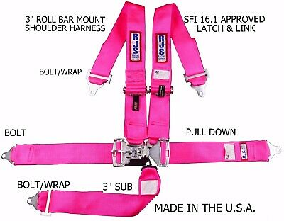 Rjs Racing Sfi 16.1 5Pt Latch & Link Harness Belt Roll Mount Bar  Pink 1128610
