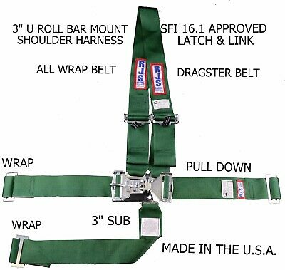 Rjs Sfi 16.1 Latch & Link Harness Dragster U Wrap Roll Bar 5 Point Green 1126409