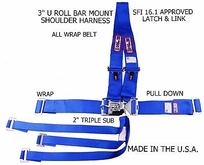 Rjs Sfi 16.1 Latch & Link Harness Dragster U Wrap Roll Bar 7 Point Blue 1126003