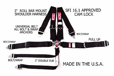 Rjs Sfi 16.1 Cam Lock 6 Point Roll Bar Harness Double Sub Belt Black 1060401