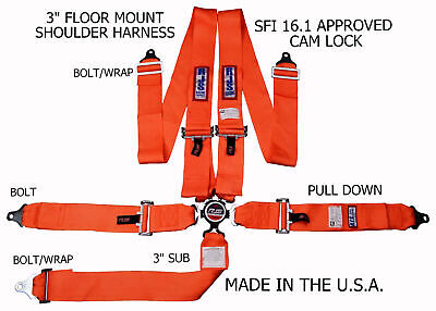 Rjs Racing Sfi 16.1 Cam Lock 5Point Seat Belt Harness Floor Mount Orange 1034905