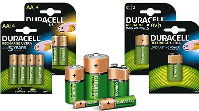 Duracell AA AAA C D Size 9V PP3 Rechargeable Batteries NiMH Stay Charged Battery