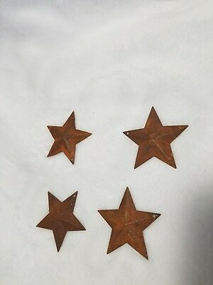 Lot of 4 Rusty Barn Stars 2.25 inch Rustic Primitive Country Rusted Dimensional