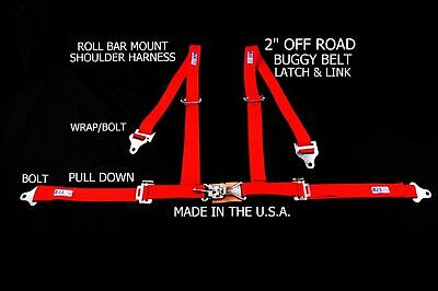 "Rjs Racing 2"" 4 Pt Latch & Link Roll Bar Mount Harness Buggy Belt Red 4007304"
