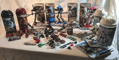 LARGE LOT: Misc. Bionicles (Incomplete), Parts, Canisters, Booklets, & More